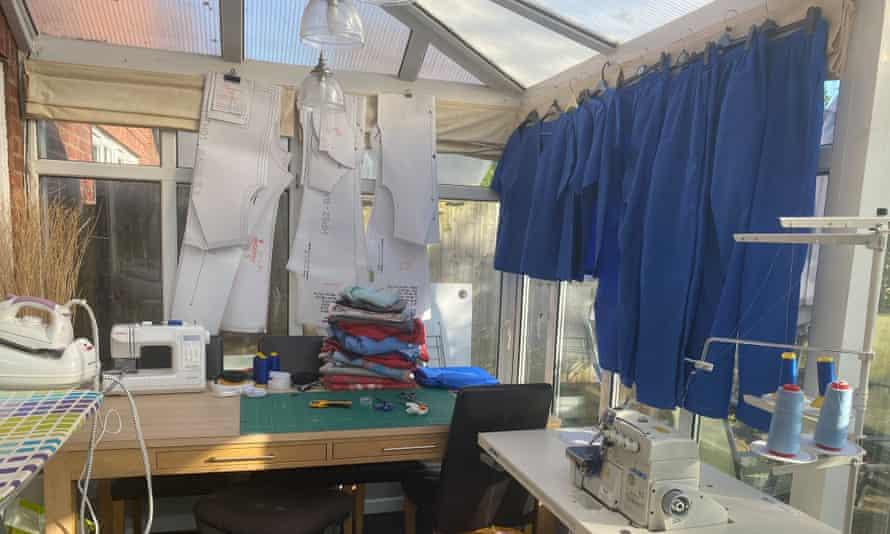 Sarah Baker's conservatory, where she sews scrubs for NHS workers.
