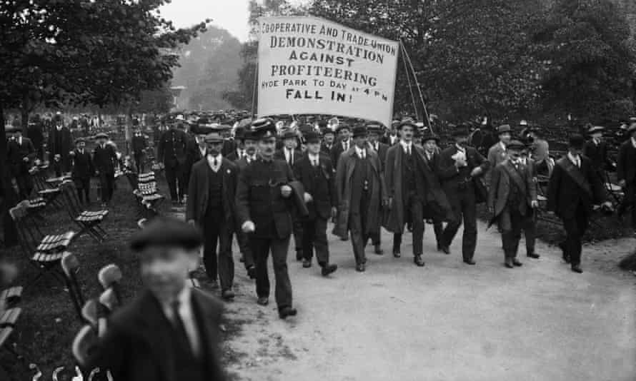 Cooperative and trade union members on an anti-profiteering demonstration in Hyde Park, London, in 1919.
