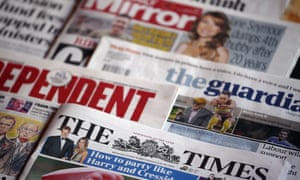 A selection of UK national newspapers