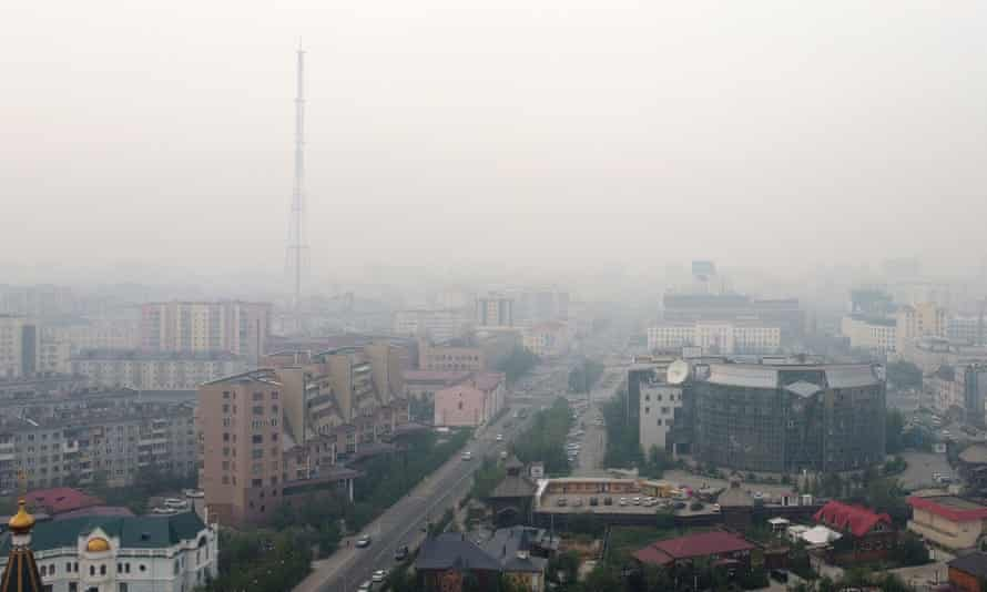 Smoke hangs over the city of Yakutsk, coming from wildfire-hit Gorny and Khangalassky districts.