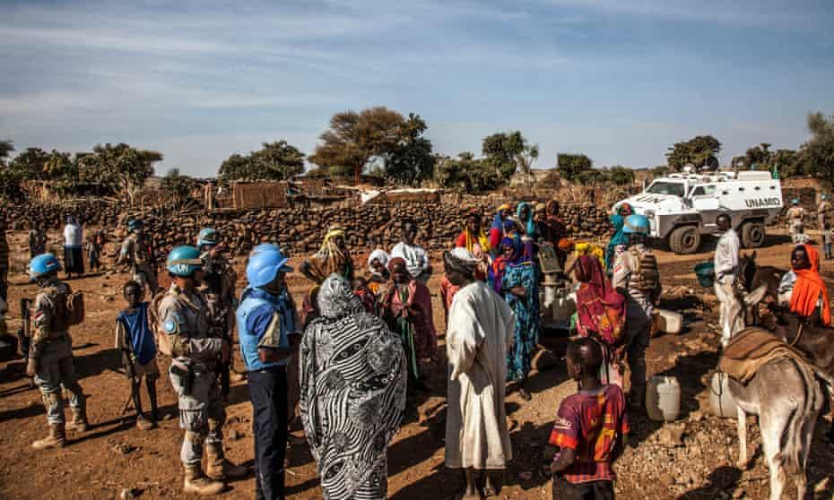 A Unamid patrol in Kurmol village, Central Darfur, on 7 January 2020