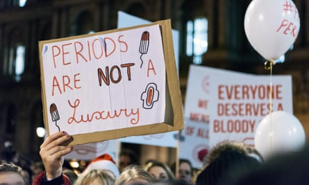 Protesters calling for an end to period poverty.