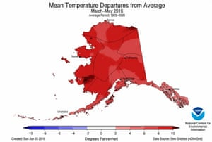 How much spring temperatures differed from average during the spring in Alaska