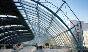 A great snake of blue steel and glass … the international terminal at Waterloo, Grimshaw's proudest project.