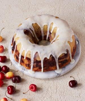 Thomasina Miers' cherry bundt cake with lemon drizzle.