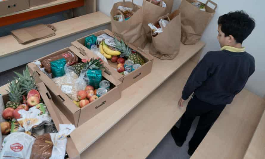 Breakfast parcels at Belham school in Peckham, south-east London.