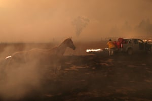 Laurence Cowie fights fire on Tallabrook lodge a property along the Bumbalong Road North of Bredbo.