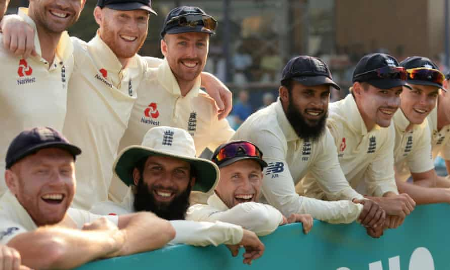 England players enjoy the celebrations after their series win in Sri Lanka.