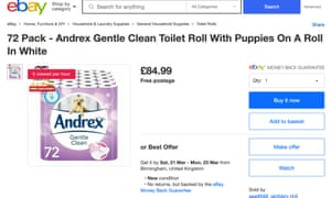 The Guardian found one UK-based eBay user selling a 72-pack of Andrex toilet roll for £84.99 on Monday morning – more than triple its retail price.