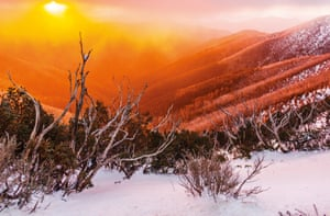 Sunset through fog at Mount Hotham, Victoria