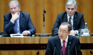 Ban Ki-moon gives a speech to the Austrian parliament in Vienna.