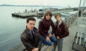 Orchestral Manoeuvres in the Dark (from left, Andy McCluskey, Malcolm Holmes and Paul Humphreys) on Liverpool docks in 1982.