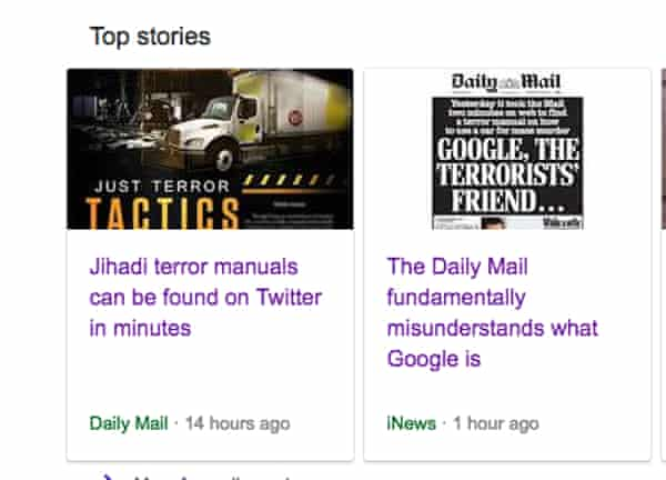 A Google search showing an inaccurate Daily Mail story alongside a piece debunking it.