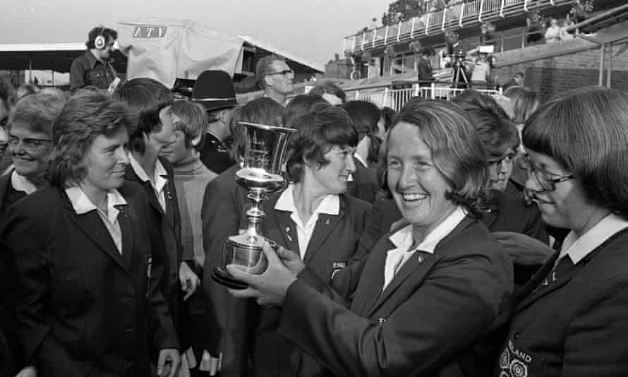 Rachael Heyhoe Flint shows off the trophy after England beat Australia in the first women's World Cup final at Edgbaston in 1973