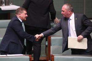 Barnaby Joyce congratulates Llew O'Brien after he was elected deputy speaker in a contest between himself and Damian Drum