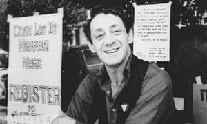 Harvey Milk in front of his camera shop in San Francisco.