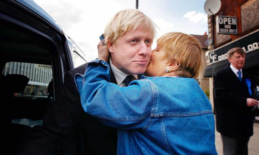 Boris Johnson receives a kiss during a London mayoral campaign walkabout in Chingford east London, in April 2008.