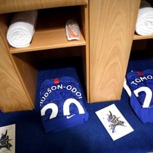 Callum Hudson-Odoi's shirt in the Chelsea changing room
