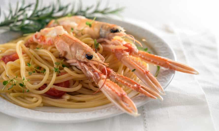 Spaghetti with langoustines.