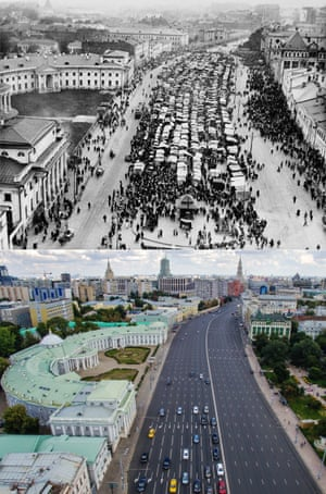 The Sukharevsky market in Soviet Moscow in 1920, replaced with a 16-lane motorway in 2015.  Russia