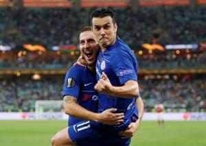 Chelsea's Pedro celebrates scoring their second goal with Eden Hazard.