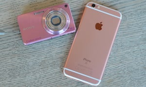 iphone 6S and a pink camera