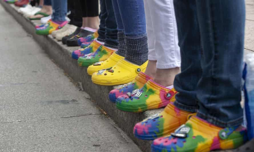 Black Lives Matter activists in Columbus, Ohio, wear Crocs in solidarity with Ma'Khia Bryant who was shot and killed while wearing Croc shoes