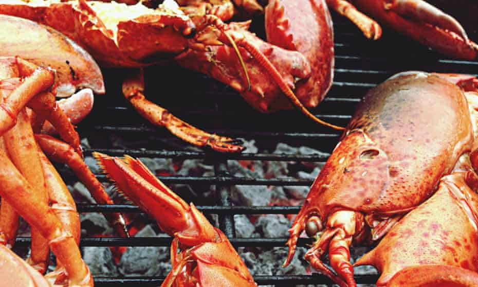Lobsters Being Grilled On Barbecue