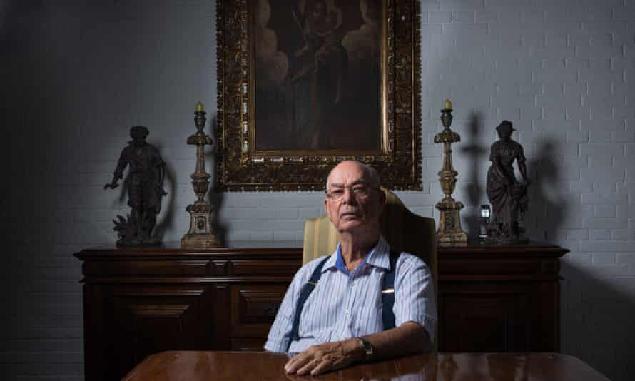Antonio Ronaldo Rodrigues da Cunha , 80, in his dining room.