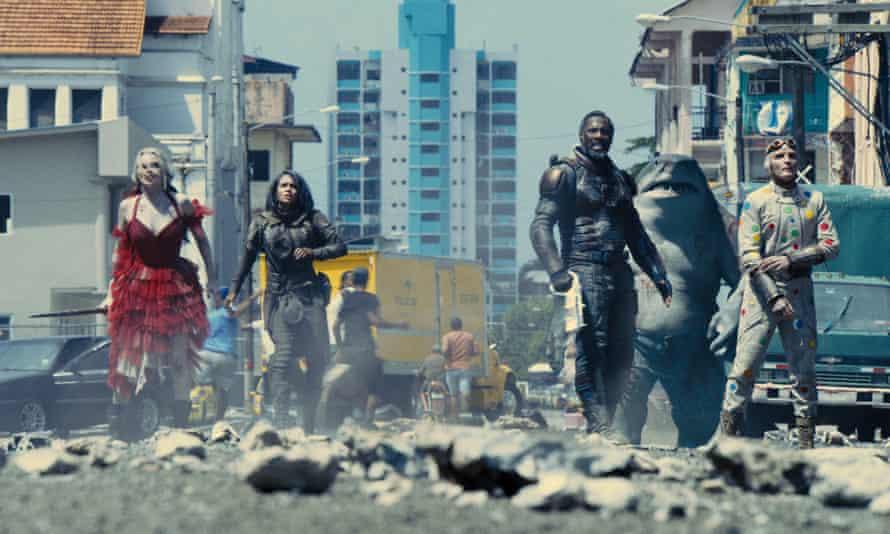 Margot Robbie, Daniela Melchior, Idris Elba and David Dastmalchian in The Suicide Squad.