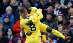 Chelsea's N'Golo Kante celebrates scoring with Ross Barkley