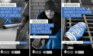 Three of Nottingham City Council's posters urging people not to give money to beggars.