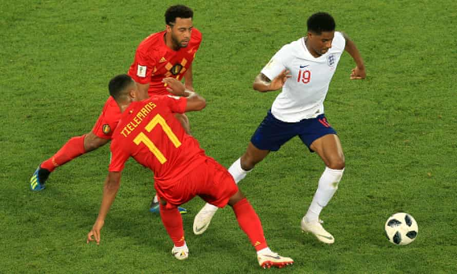 England's Marcus Rashford battles with Youri Tielemans and Mousa Dembele, who respectively have parents of Congolese and Malian descent.