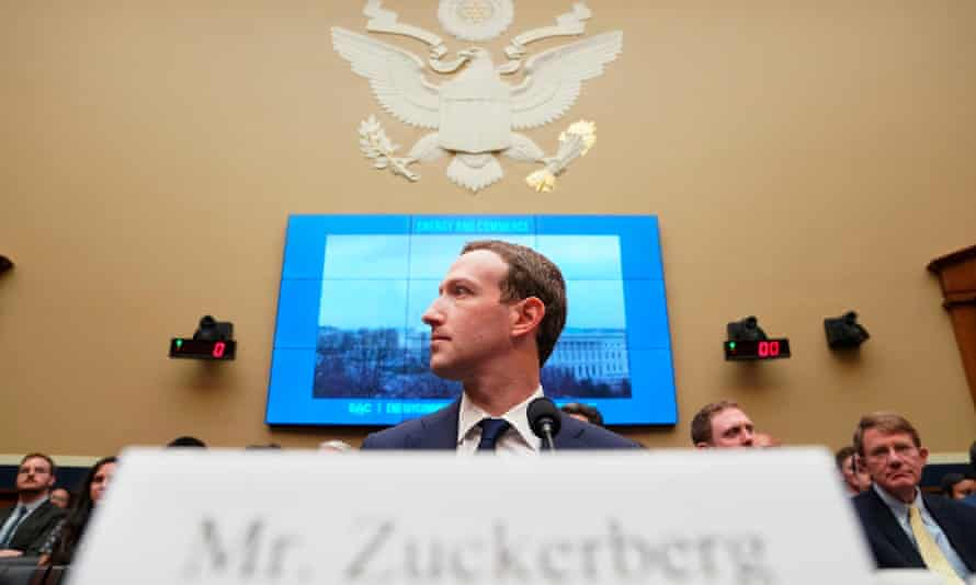 Mark Zuckerberg testifies before a House hearing in April 2018 about the use of Facebook data to target US voters in the 2016 election.