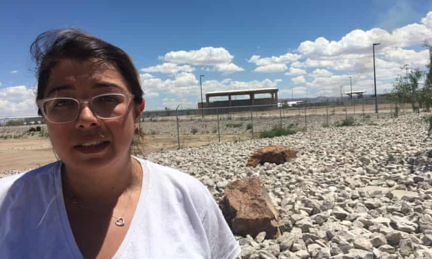 Jill Manrique protests outside the temporary detention centre for migrant children in Tornillo, Texas
