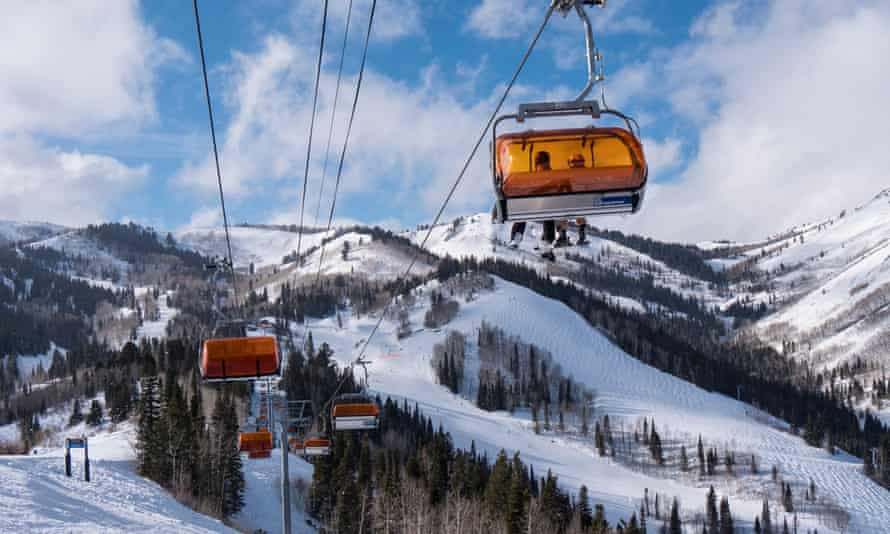 Orange Bubble Express chairlift and slopes beyond, Canyons Village base area, Park City Mountain Resort, Utah.<br>FBCPYB Orange Bubble Express chairlift and slopes beyond, Canyons Village base area, Park City Mountain Resort, Utah.