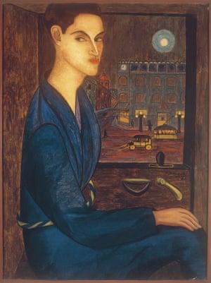 Taxi, por Manuel Rodríguez Lozano, 1924. Museo Nacional de Arte, Ciudad de México. La ciudad es visible al fondo del retrato, pintado en el estudio-azotea de Rodríguez Lozano.