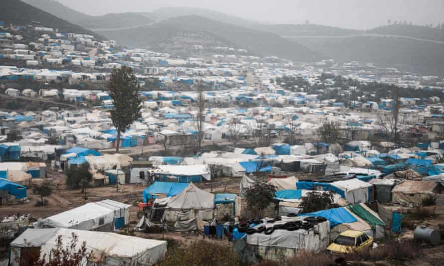 A camp for displaced Syrians in the west of Idlib province