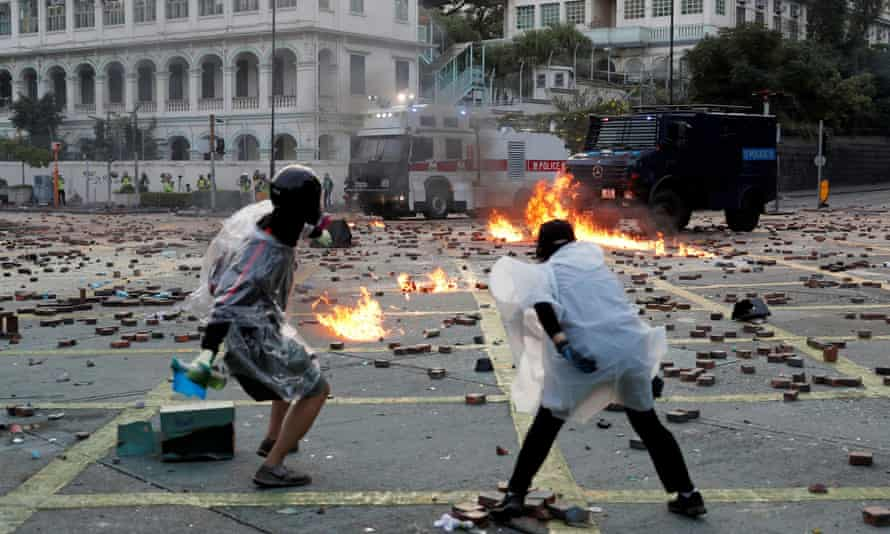 Protesters in Hong Kong last year