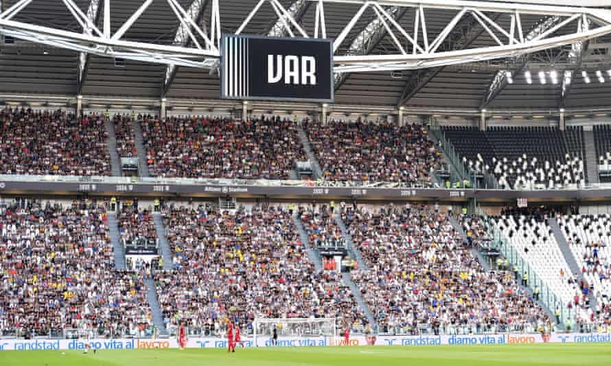 Video assistant referee on a megascreen during the match between Juventus and Cagliari Calcio at Allianz Stadium