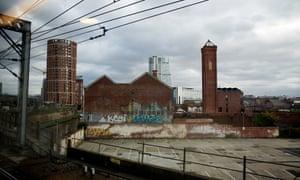 View of old industrial Leeds over railway line