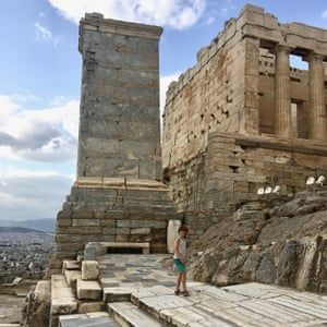 The writer's son on the Parthenon's steps