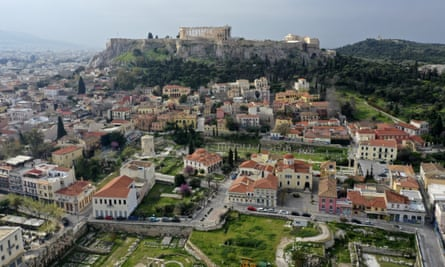 The Plaka district at the foot of the Acropolis.