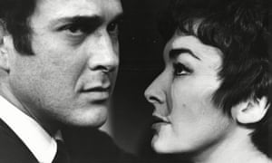Harold Pinter and Jane Lowe in his play The Homecoming at Watford Palace theatre, 1969.