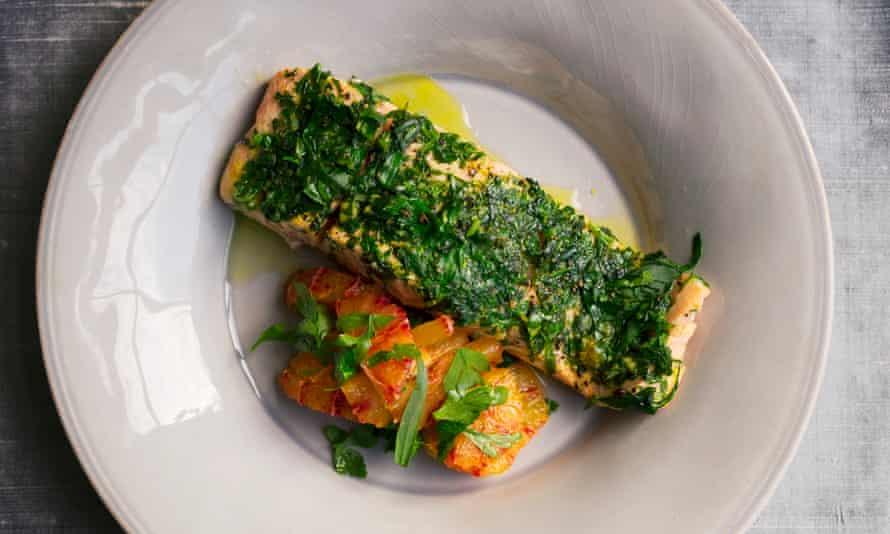 Nigel Slater's herbed salmon.