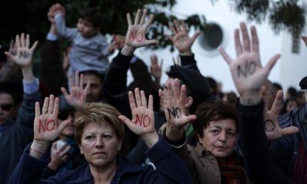 Cypriots protesting against the terms of the bailout in 2013.