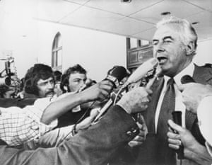 Former PM Gough Whitlam addresses reporters outside parliament in Canberra after his dismissal by the governor-general on 11 November 1975.