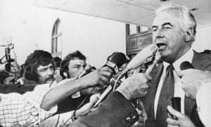 Gough Whitlam addresses reporters after his dismissal by Australia's governor general in November 1975