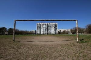 A goalpost stands in Yevpatoria, Crimea