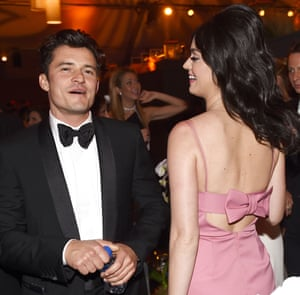 Orlando Bloom and Katy Perry at The Weinstein Company and Netflix Golden Globe after party.